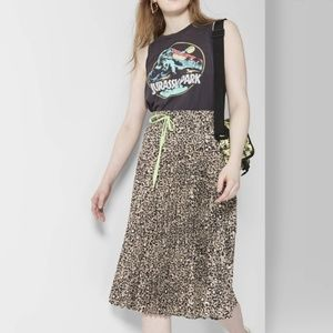 WILD FABLE leopard pleated neon tie skirt AQ6